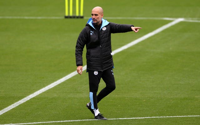 Pep Guardiola points the way forward in Manchester City training