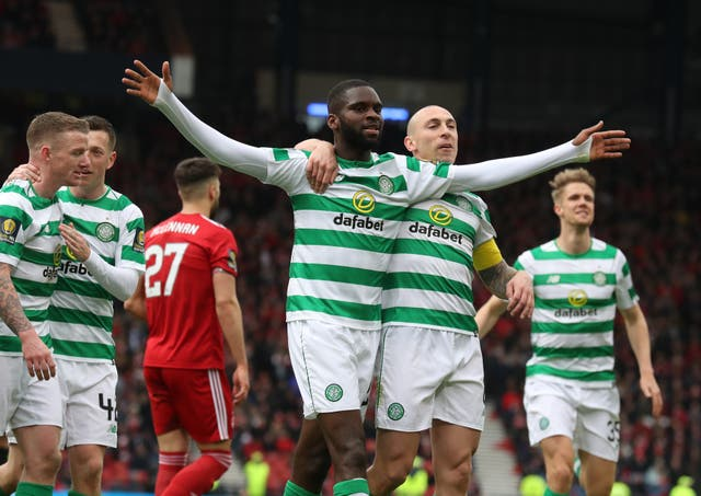 Celtic's Odsonne Edouard (centre left) celebrates scoring his side's second goal of the game from the penalty spot as his side beat Aberdeen 3-0 to go through to the Scottish Cup final