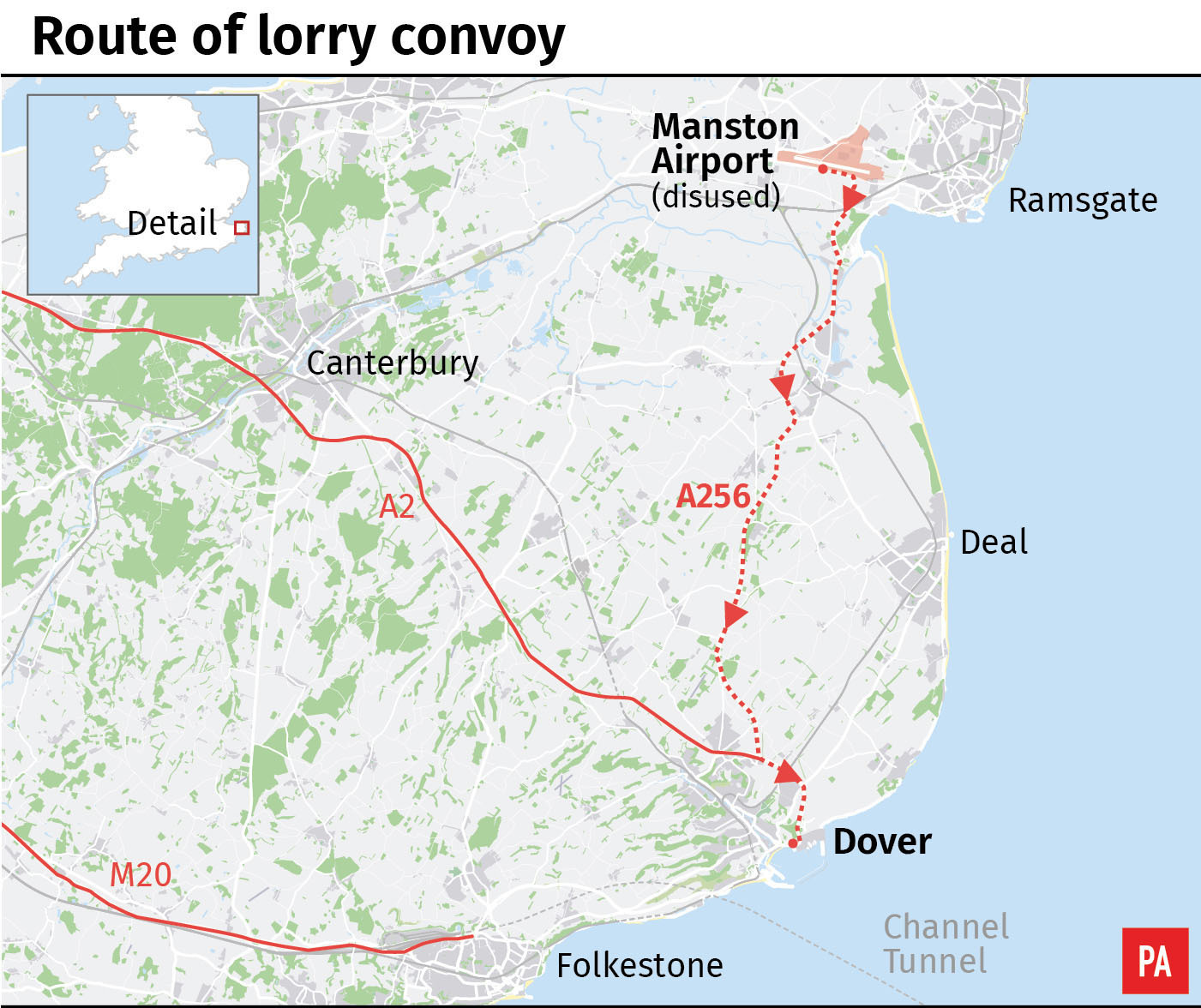 Route of lorry convoy from Manston Airport to Dover