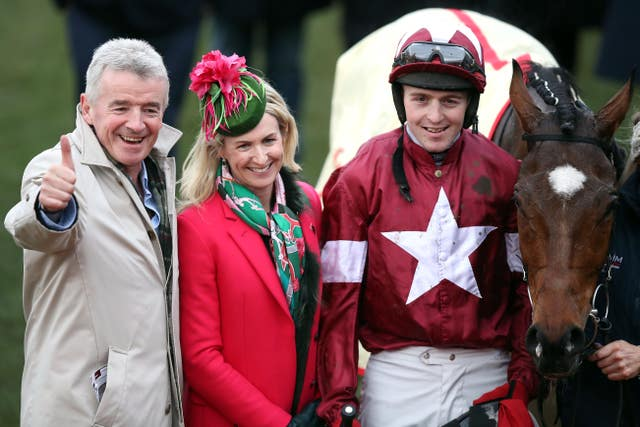 Michael O'Leary (left) with Tiger Roll - but will his horse bid for a second National?
