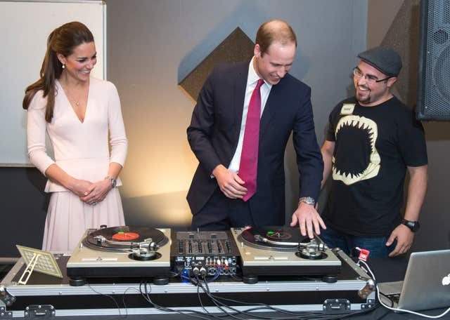 The Duke and Duchess of Cambridge spinning decks (Arthur Edwards/The Sun/PA)