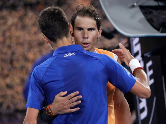Nadal congratulates Djokovic at the end of the game