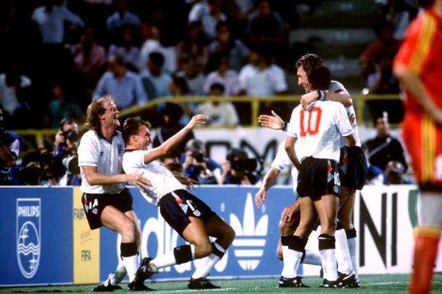 England's David Platt scored a last-gasp winner against Belgium at Italia '90