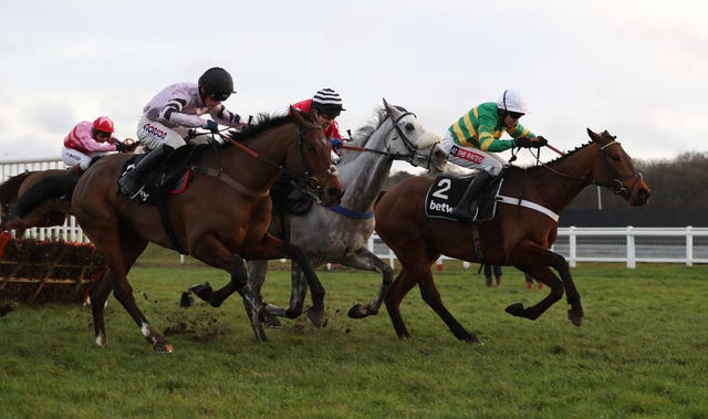 Getaway Trump (near side) chased home Champ in the Challow Hurdle