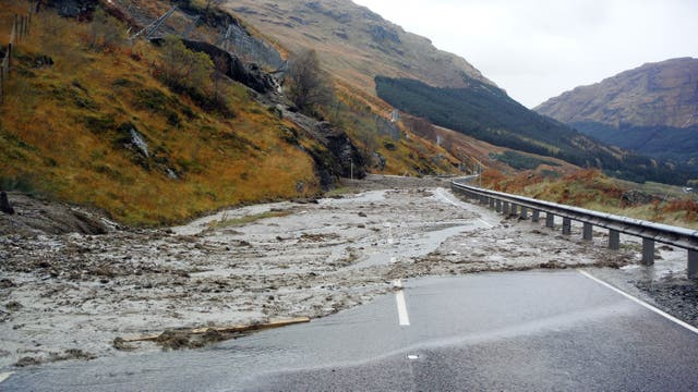 A landslip on the A83