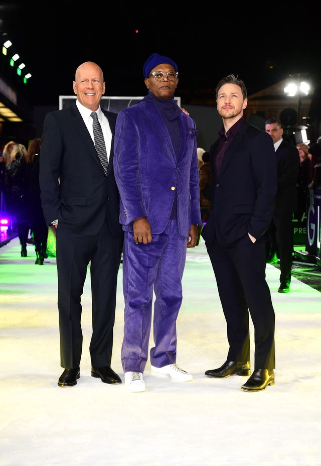 Bruce Willis (left), Samuel L Jackson, and James McAvoy