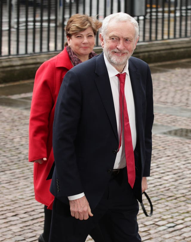 Labour leader Jeremy Corbyn and shadow foreign secretary Emily Thornberry arrive for the Commonwealth Service at Westminster Abbey (Yui Mok/PA)