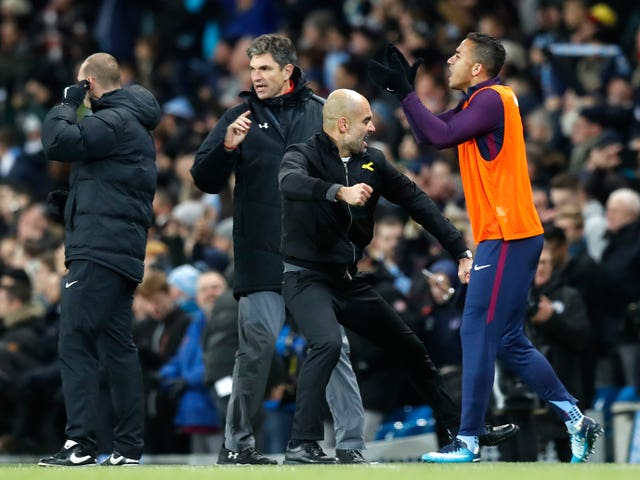 Manchester City manager Pep Guardiola celebrates a goal