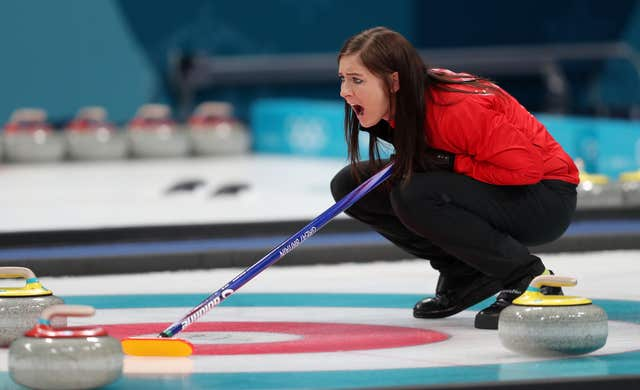 Great Britain's skip Eve Muirhead during their match with Japan
