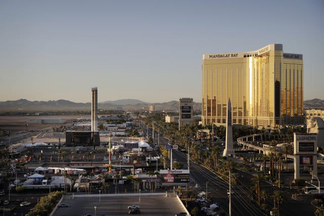 The Mandalay Bay resort and casino, right, overlooks an outdoor festival grounds across the street (John Locher/AP)