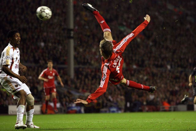 Crouch made a slow start to life at Liverpool, but won over the Anfield faithful with goals like this spectacular bicycle kick in a Champions League match with Galatasaray