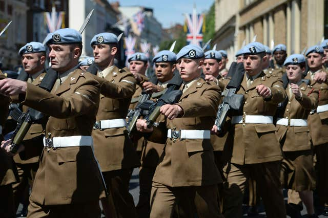 Members of the military paraded around Windsor and up The Long Walk (Kirsty O'Connor/PA)