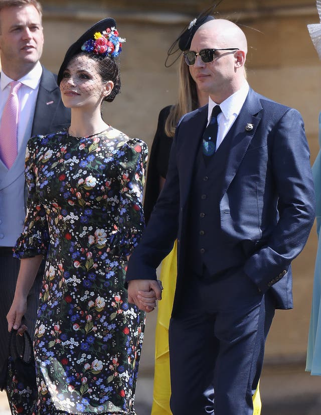 Charlotte Riley and Tom Hardy arrive for the wedding of Prince Harry to Meghan Markle (Chris Jackson/PA)