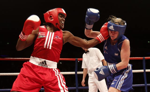 Adams, left, beat Lynsey Holdaway in the final of the Great Britain Amateur Boxing Championships in Liverpool in 2010