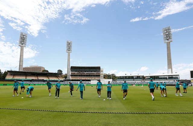 General view as Australia warm up during a nets session at the WACA in Perth, Australia.