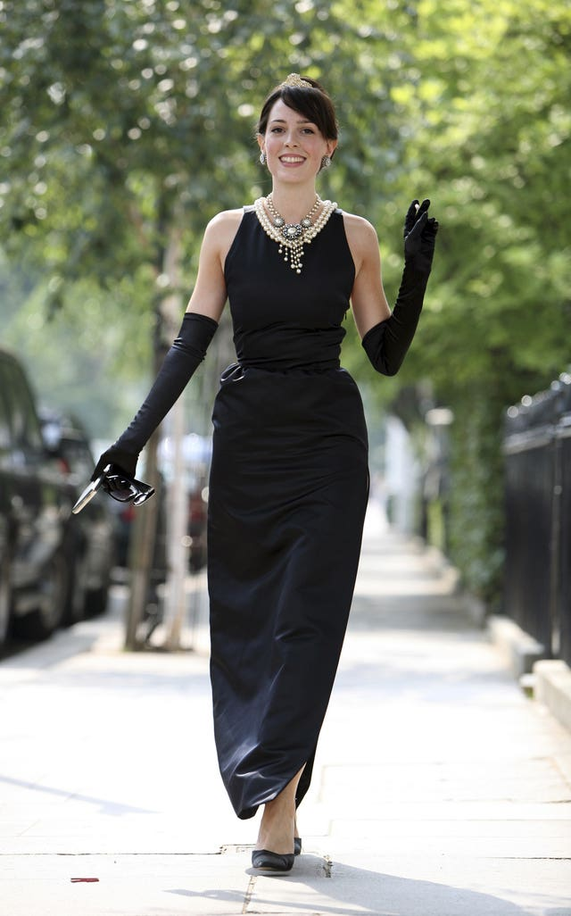 Model Romilly Collins wears the black Givenchy dress made for actress Audrey Hepburn in Breakfast at Tiffany's (AP)