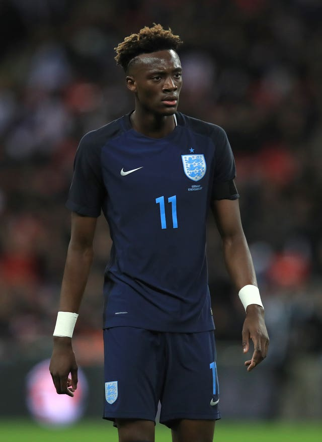 Tammy Abraham, currently on loan at Swansea, started in attack against Germany.