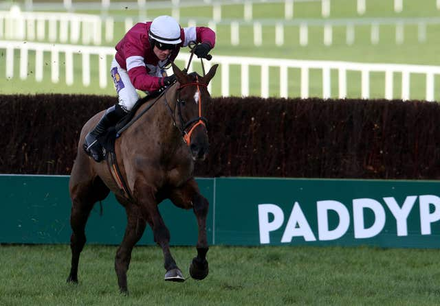 Last Instalment clears the last on his way to winning the Hennessy Gold Cup at Leopardstown in 2014