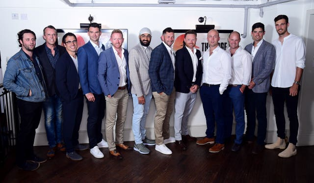 Alastair Cook, second from right, appeared at the premiere of The Edge documentary