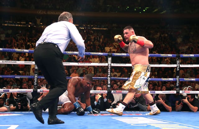 Andy Ruiz Jr knocks down Anthony Joshua in their first meeting in New York