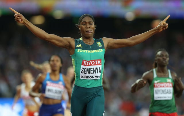 Caster Semenya celebrates winning 800m gold at the World Championships in London