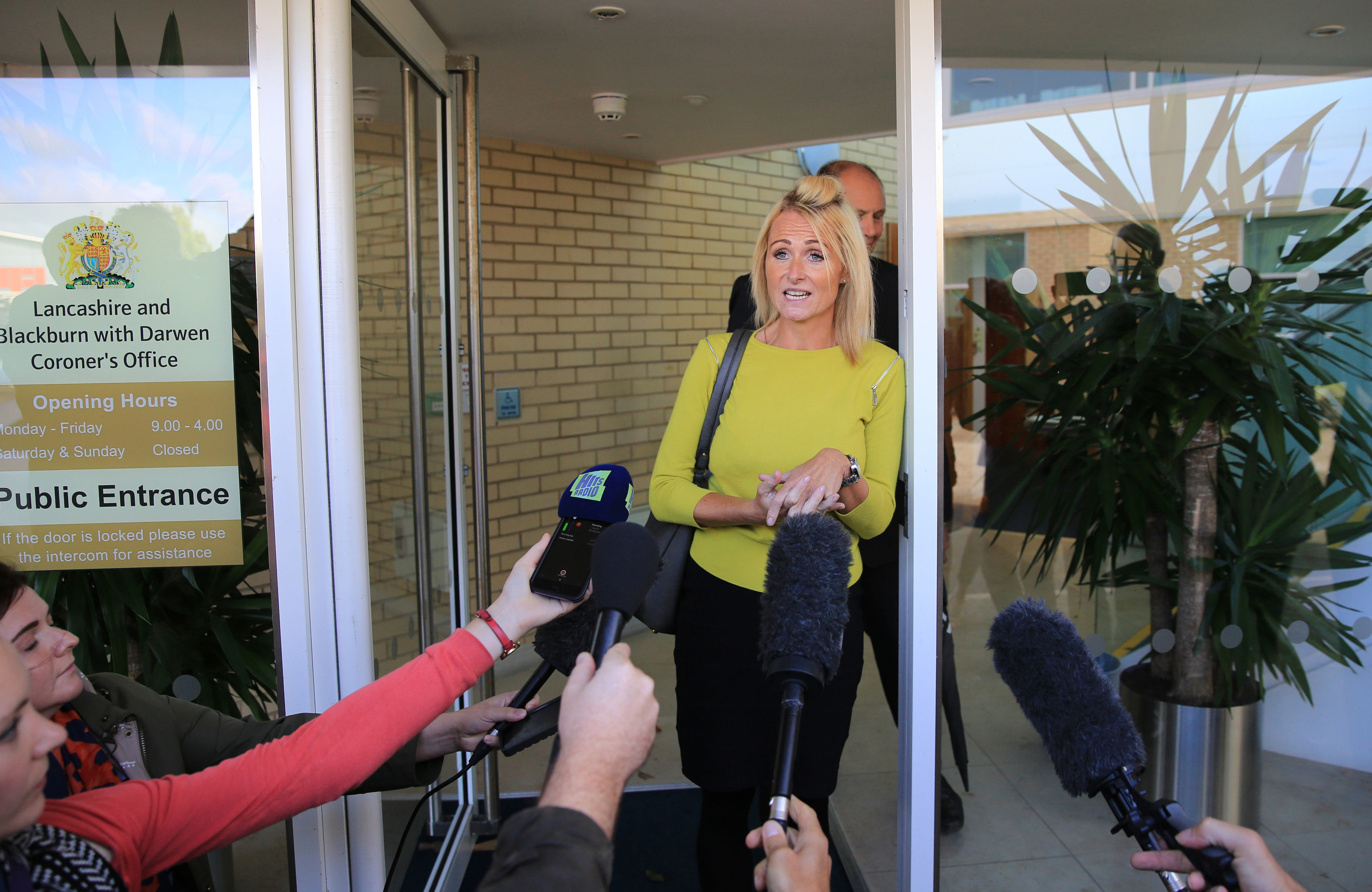 Kelly Ormerod speaking to the media at Preston Coroner's Court