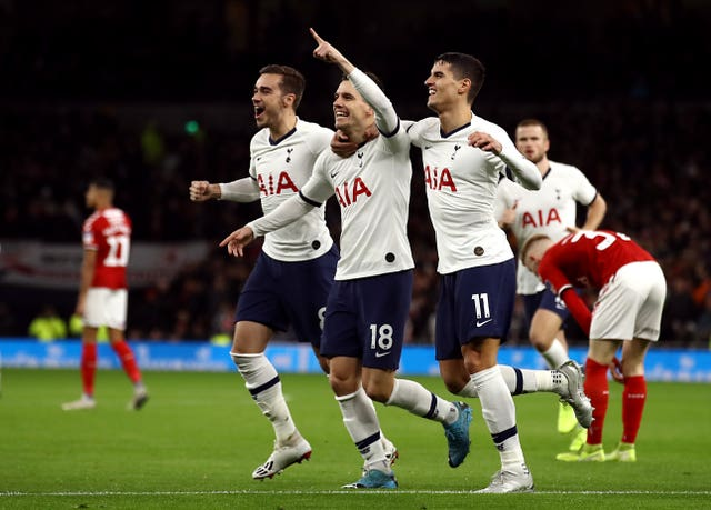 Giovani Lo Celso, centre, celebrates his early opener