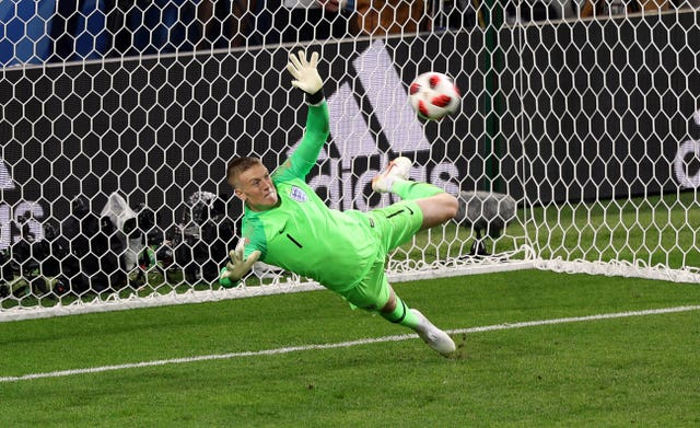 England's Jordan Pickford saves a penalty against COlombia
