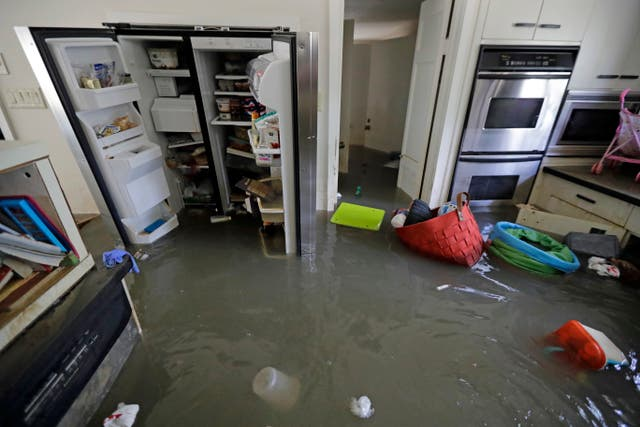 A water-logged kitchen in the aftermath of Hurricane Harvey