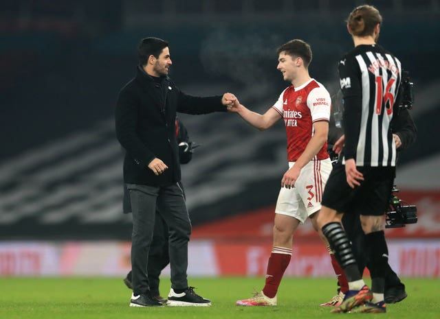 Kieran Tierney (right) is the only natural left-back in Arteta's first-team squad.