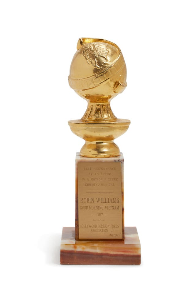 A Golden Globe Award that belonged to Robin Williams