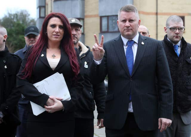 Paul Golding and Jayda Fransen are on trial at Folkestone Magistrates' Court (Gareth Fuller/PA)