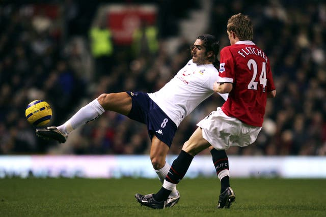 Tottenham's Pedro Mendes was denied a goal against Manchester United in 2005