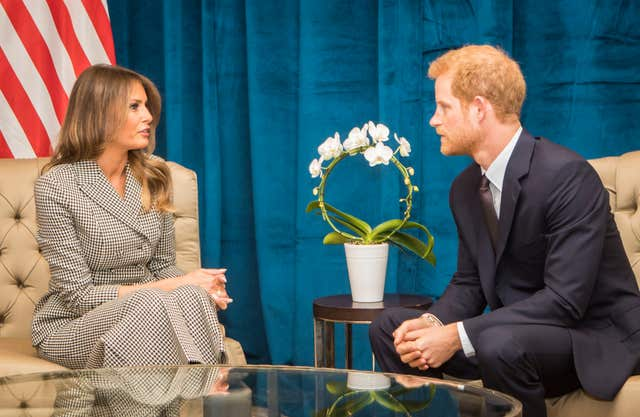 Prince Harry during a meeting with Melania Trump in Toronto