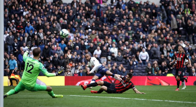 Tottenham Hotspur's Lucas Moura scores his side's fourth goal and completes his hat-trick as Spurs beat Huddersfield 4-0