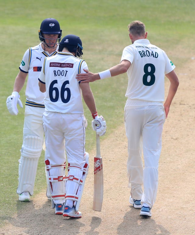 Nottinghamshire's Stuart Broad (right) checks on Yorkshire's Joe Root after hitting him on the helmet during the Specsavers County Championship, which ECB county cricket chief Gordon Hollins insists won't be devalued by The Hundred.