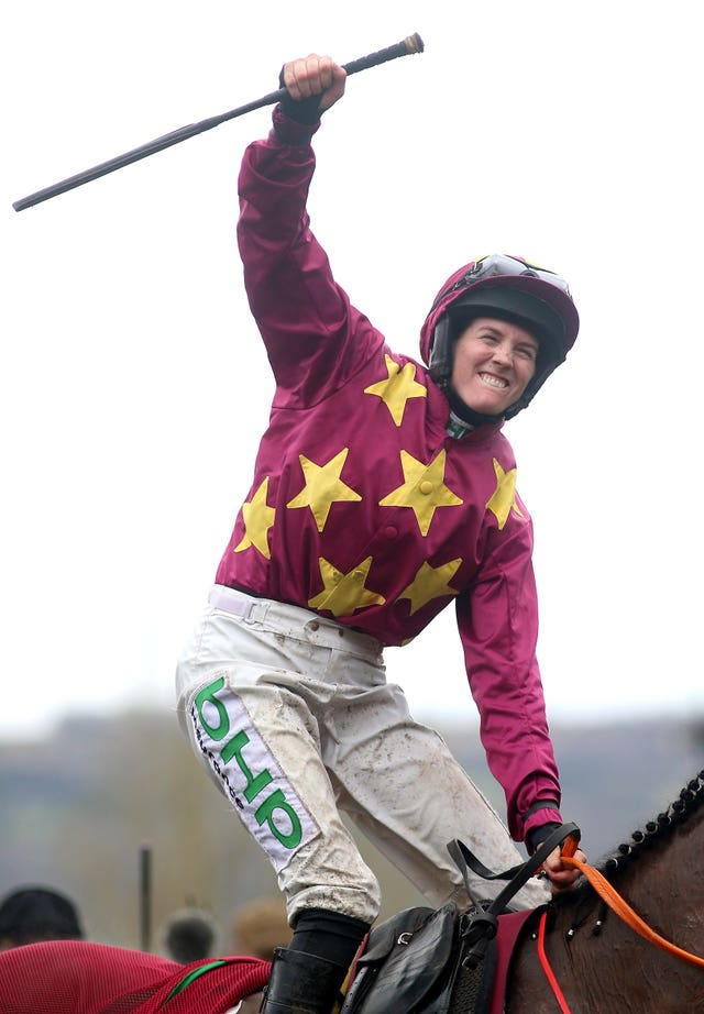Rachael Blackmore punches the air after notching her first Grade One win at the Festival on Minella Indo