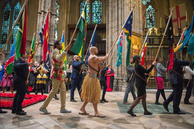 Flags of the Commonwealth paraded in the Commonwealth Service at Westminster Abbey (Paul Grover/Daily Telegraph/PA)