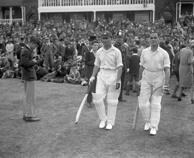 But Jack Hobbs and Herbert Sutcliffe (right) helped England bat it out for a draw - Sutcliffe scoring 28 not out in the second innings from 140 balls