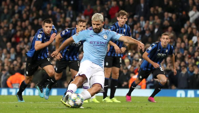 Sergio Aguero was on the spot for Manchester City