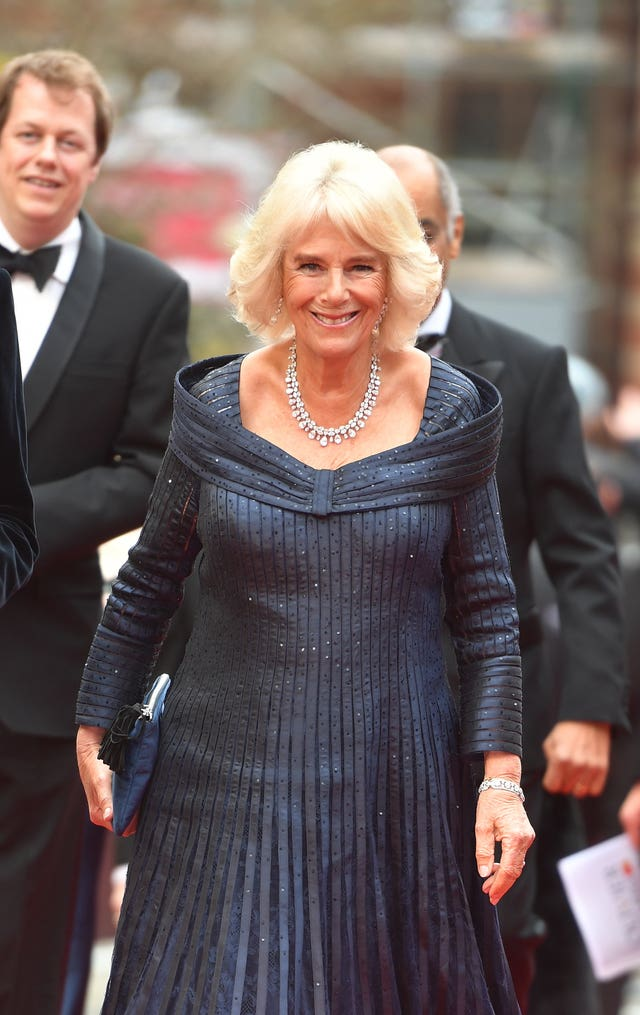 The Duchess of Cornwall arriving to attend the Olivier Awards at the Royal Albert Hall in London