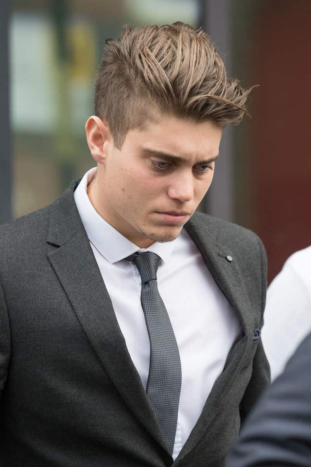 Cricketer Alex Hepburn, who has been charged with raping a woman, leaves Worcester Magistrates' Court. (Aaron Chown/PA)
