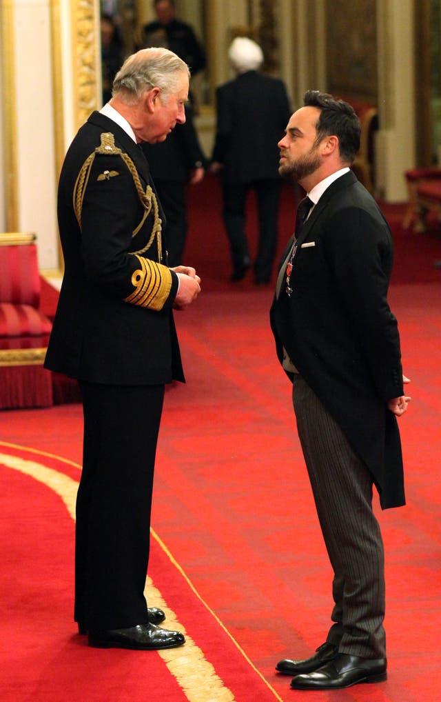 TV presenter Ant McPartlin is made an OBE by the Prince of Wales during an Investiture ceremony at Buckingham Palace (Jonathan Brady/PA)