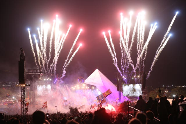 Fireworks go off as The Killers play the Pyramid Stage