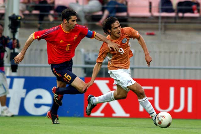 Hierro (left) was named in the 2002 World Cup team of the tournament