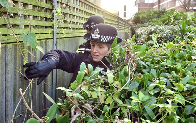Metropolitan Police Commissioner Cressida Dick joins police officers conducting a weapons sweep in Islington, north London (Dominic Lipinski/PA WIRE)