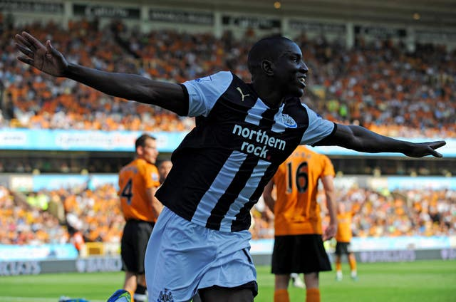Demba Ba celebrates a goal against Wolves in October 2011