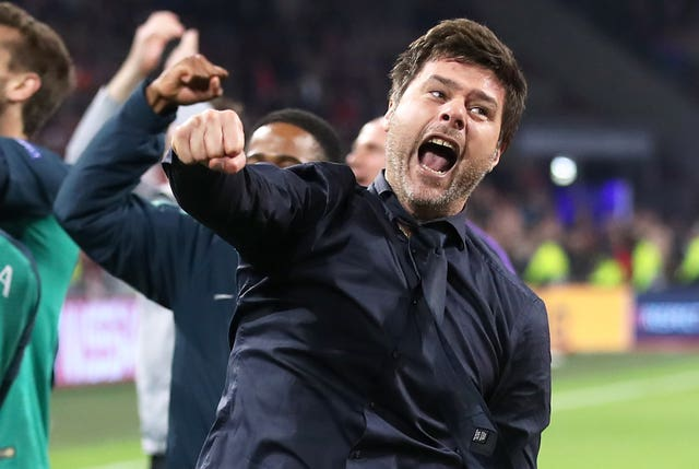 Mauricio Pochettino celebrates after Tottenham's win over Ajax booked their place in the Champions League final