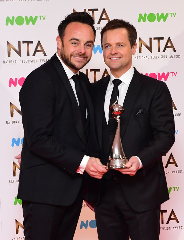 Ant and Dec in the press room with the award for Best Entertainment Programme 'Saturday Night Takeaway' at the National Television Awards 2017 (Ian West/PA)