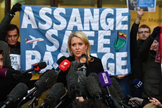 Mr Assange's lawyer Jennifer Robinson said the Government had refused to confirm or deny whether there is an extradition request from the US (John Stillwell/PA)